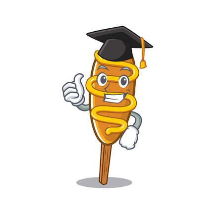 happy and proud of corn dog wearing a black Graduation hat