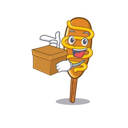 Cute corn dog cartoon character having a box