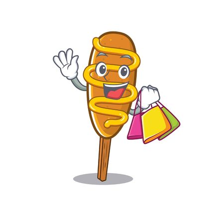 A friendly rich corn dog waving and holding Shopping bag