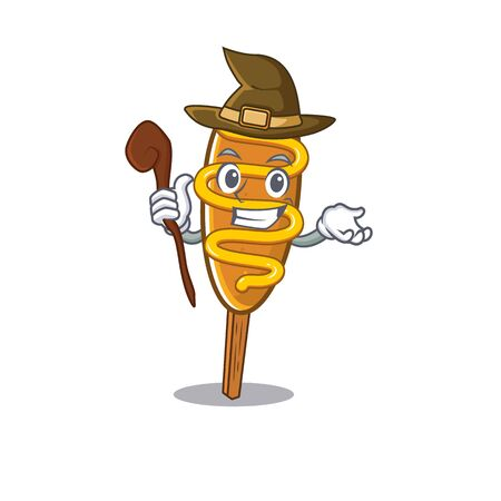 a mascot concept of corn dog performed as a witch