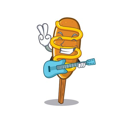 A picture of corn dog playing a guitar