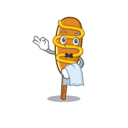 Sweet corn dog Character working as a Waiter