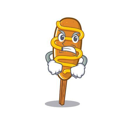 Corn dog cartoon character style having angry face 向量圖像