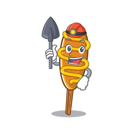 Cool clever Miner corn dog cartoon character design