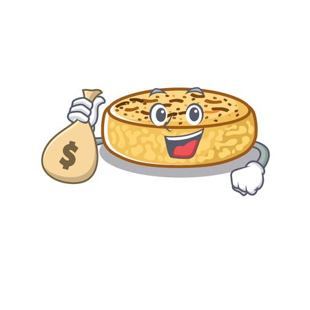 Rich and famous crumpets cartoon character holding money bag