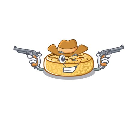 Crumpets Cowboy cartoon in concept having guns