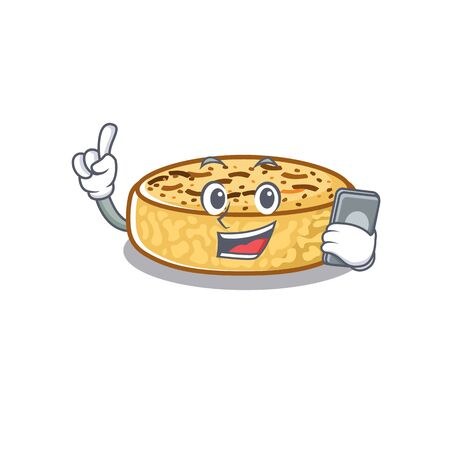 Crumpets Cartoon design style speaking on a phone