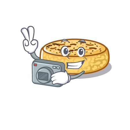 Cool Photographer crumpets character with a camera