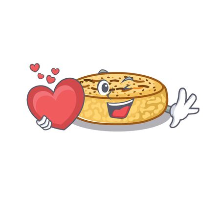Romantic crumpets cartoon picture holding a heart