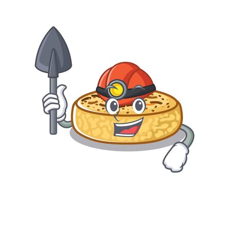 Cool clever Miner crumpets cartoon character design Ilustrace