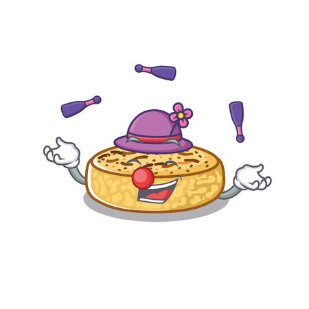 a lively crumpets cartoon character design playing Juggling Vectores