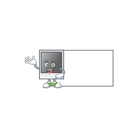 Cheerful empty photo frame mascot style design with whiteboard Banque d'images - 140114713