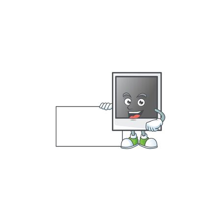 Cute funny empty photo frame cartoon character having a board Banque d'images - 140114719
