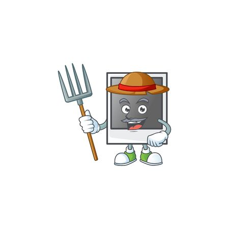 sweet Farmer empty photo frame cartoon mascot with hat and tools Banque d'images - 140114750