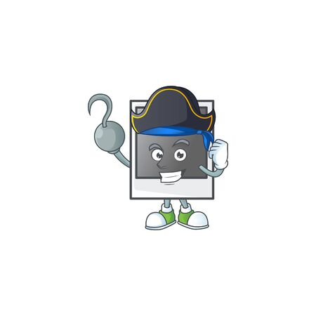 Calm one hand Pirate empty photo frame mascot design wearing hat Banque d'images - 140114763