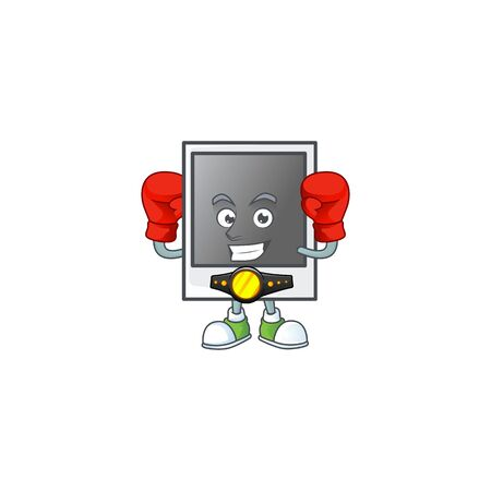 A sporty Boxing empty photo frame cartoon character design style Banque d'images - 140114824