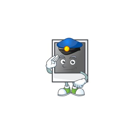 A character design of empty photo frame working as a Police officer Illustration