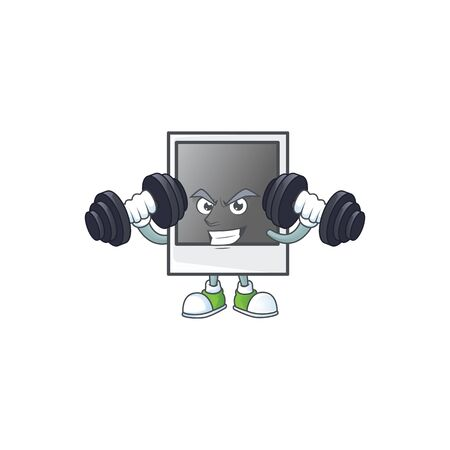 Empty photo frame mascot icon on fitness exercise trying barbells Banque d'images - 140128115