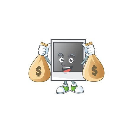 A cute image of empty photo frame cartoon character holding money bags Banque d'images - 140128117