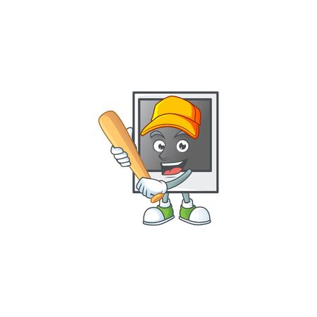 An active healthy empty photo frame mascot design style playing baseball Banque d'images - 140128118