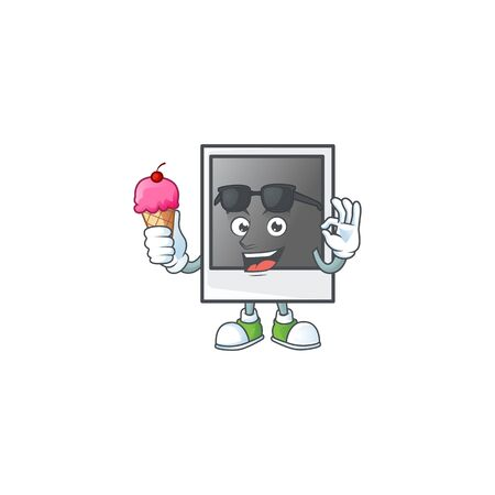 Empty photo frame mascot cartoon style eating an ice cream