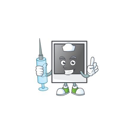 Smiley Nurse empty photo frame cartoon character with a syringe