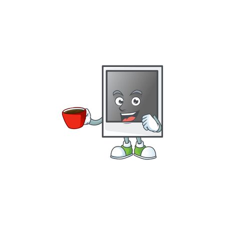 Cool empty photo frame cartoon character with a cup of coffee