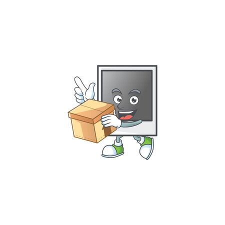 A charming empty photo frame mascot design style having a box 向量圖像