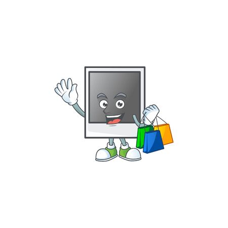 A rich empty photo frame cartoon design waving and holding Shopping bag