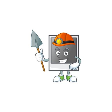 Cool clever Miner empty photo frame cartoon character design