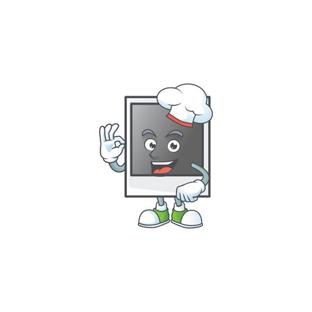 Empty photo frame cartoon character in a chef dress and white hat 向量圖像