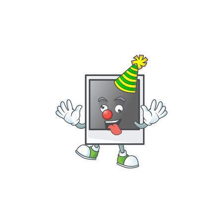 Cute and funny Clown empty photo frame cartoon character mascot style. Vector illustration Banque d'images - 140115459