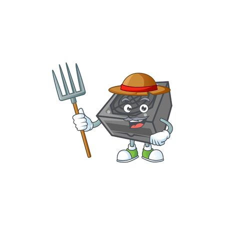 sweet Farmer power supply unit black color cartoon mascot with hat and tools. Vector illustration