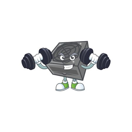 Power supply unit black color mascot icon on fitness exercise trying barbells. Vector illustration Ilustrace