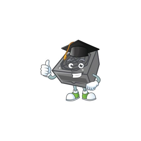 A happy character of power supply unit black color in a black Graduation hat. Vector illustration