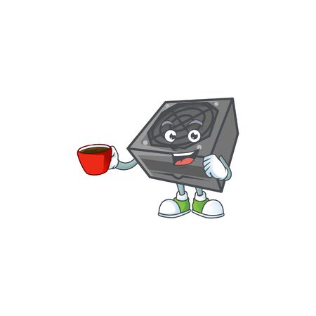 Cool power supply unit black color cartoon character with a cup of coffee. Vector illustration