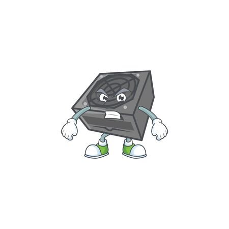 cartoon character of power supply unit black color with angry face. Vector illustration Ilustração