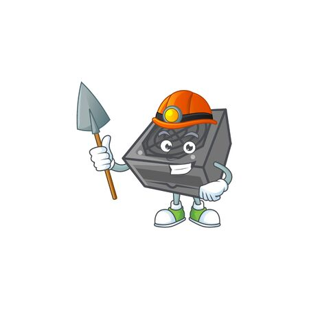 Cool clever Miner power supply unit black color cartoon character design. Vector illustration