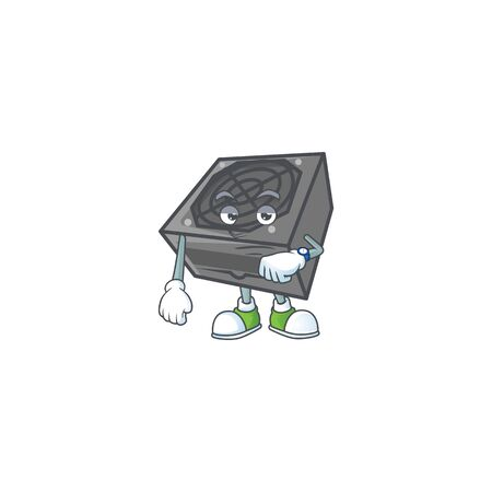 A picture of power supply unit black color on a waiting gesture. Vector illustration