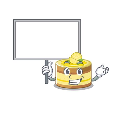 A cute picture of lemon cake mascot design with a board. Vector illustration