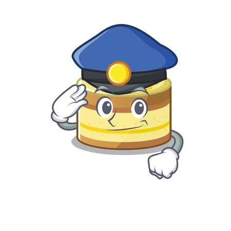 A manly lemon cake Cartoon concept working as a Police officer. Vector illustration