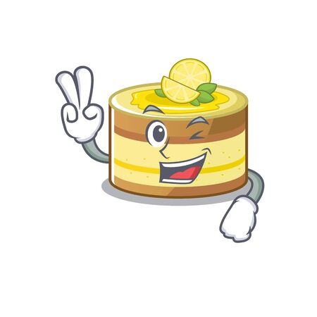 mascot of funny lemon cake cartoon Character with two fingers. Vector illustration 向量圖像