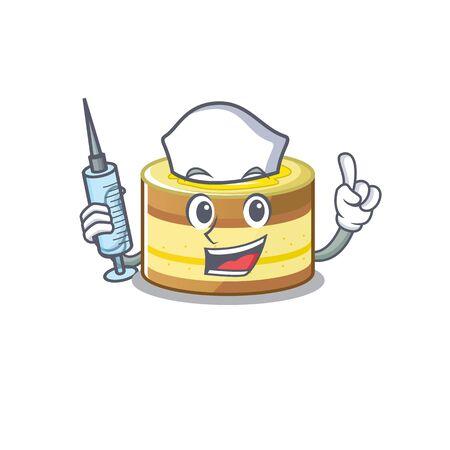 A lemon cake hospitable Nurse character with a syringe. Vector illustration