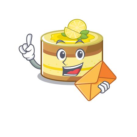 Happy face lemon cake mascot design with envelope. Vector illustration 向量圖像