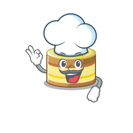Lemon cake cartoon character working as a chef and wearing white hat. Vector illustration Foto de archivo - 140093479