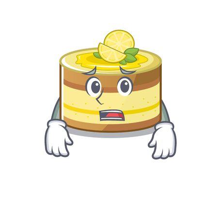 . Vector illustratioA picture of lemon cake having an afraid facen