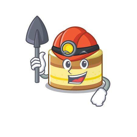 Cool clever Miner lemon cake cartoon character design. Vector illustration