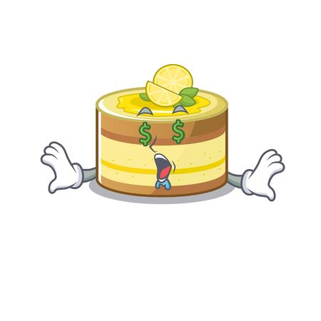 Happy rich lemon cake cartoon character with Money eye. Vector illustration