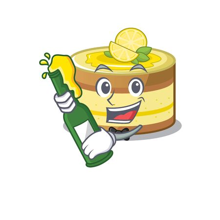 mascot cartoon design of lemon cake with bottle of beer. Vector illustration