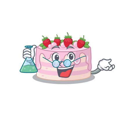 Cool strawberry cake Professor cartoon character with glass tube. Vector illustration 矢量图像